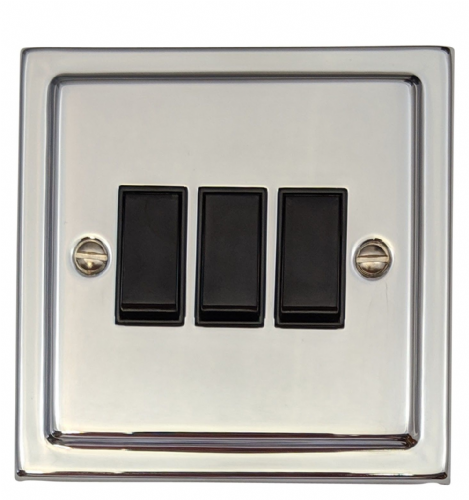 G&H TC3B Trimline Plate Polished Chrome 3 Gang 1 or 2 Way Rocker Light Switch